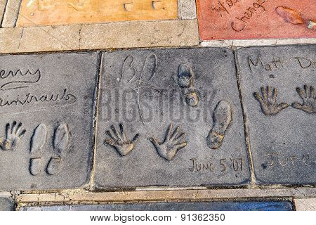 Handprints Of Bobby Darin  In Hollywood Boulevard In The Concrete Of Chinese Theatre's Forecourt