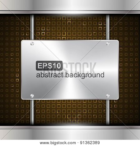 Technology Background With Metallic Chrome Banner. Vector Illustration.