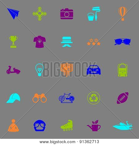 Hipster Icons Fluorescent Color On Gray Background
