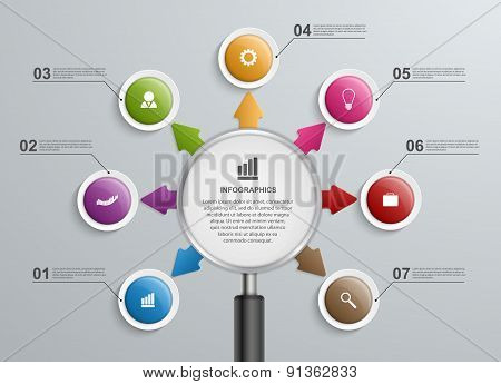 Abstract Infographic With A Magnifying Glass. Vector Illustration.