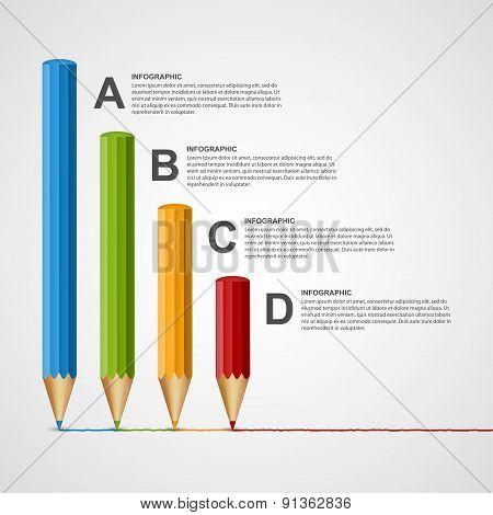 Education Pencil Option Infographics Design Template.
