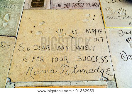 Handprints Of Norma Talmadge In Hollywood Boulevard In The Concrete Of Chinese Theatre's Forecourt