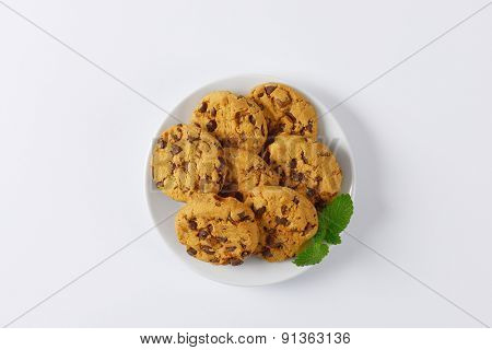 plate of chocolate chip cookies on white background