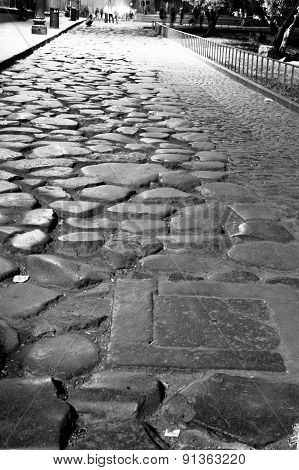 Roman Road With Cobblestones
