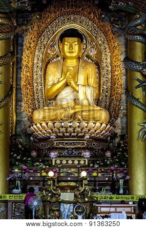 Golden Buddha at Yakcheonsa Buddhist Temple