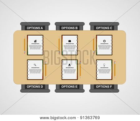 Business Teamwork Infographic. Note Book, Pencil Creative Office Workplace Concept. Vector Illustrat