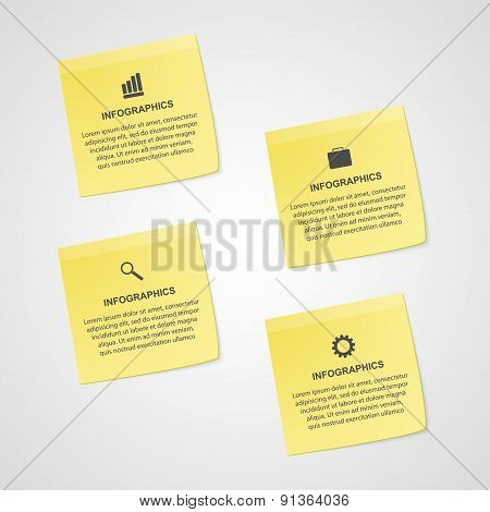 Abstract Yellow Note Paper Options Infographics Template. Vector Illustration.