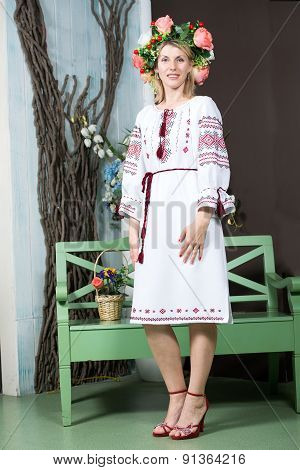 Young woman in traditional Ukrainian dress.