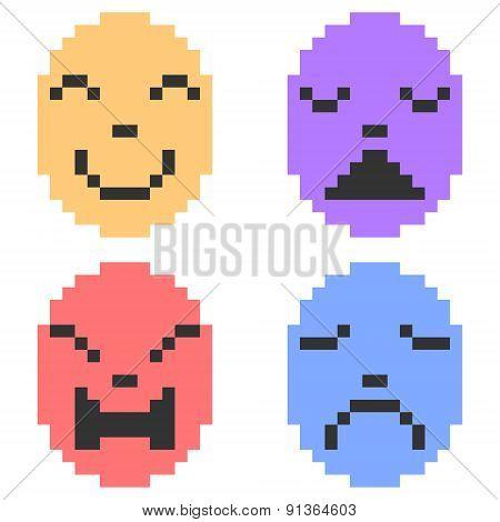 illustration pixel art icon emotion mask