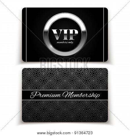 Silver Vip Cards, Premium Membership, Vector Illustration