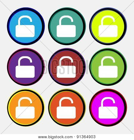Open Padlock  Icon Sign. Nine Multi-colored Round Buttons. Vector