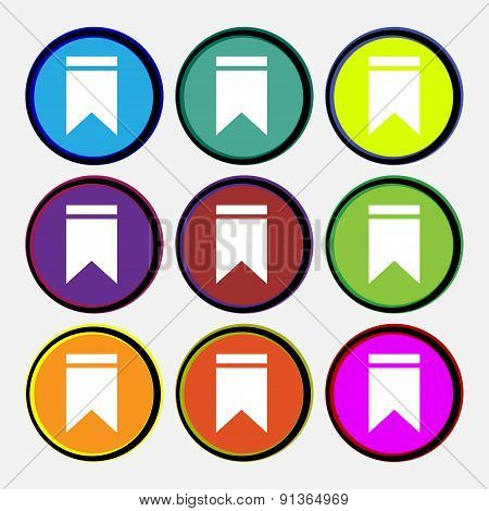 Web Stickers, Tags And Banners. Sale  Icon Sign. Nine Multi-colored Round Buttons. Vector