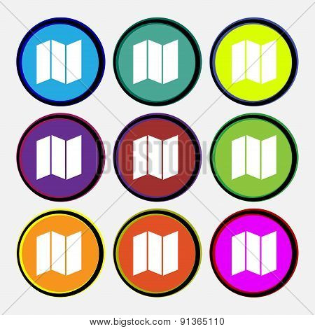 Map  Icon Sign. Nine Multi-colored Round Buttons. Vector
