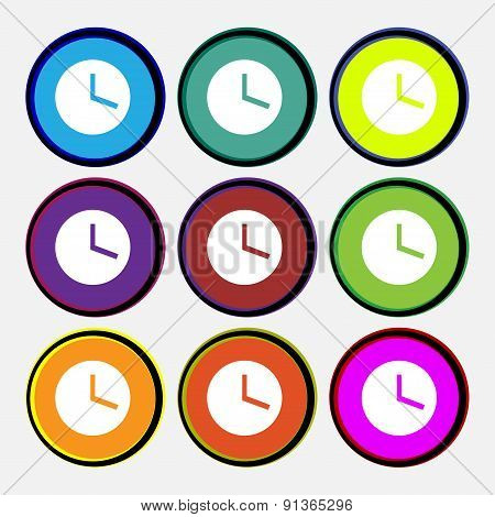 Mechanical Clock   Icon Sign. Nine Multi-colored Round Buttons. Vector