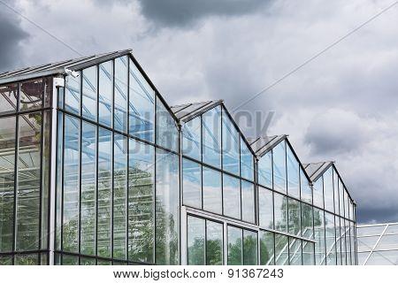 Greenhouse Against Dark Cloudy Sky