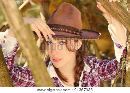 Lonely Woman With Cowboy Hat
