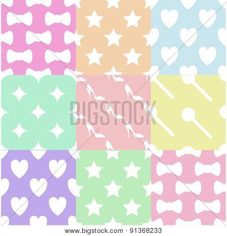 Pastels girlie pattern/ background set