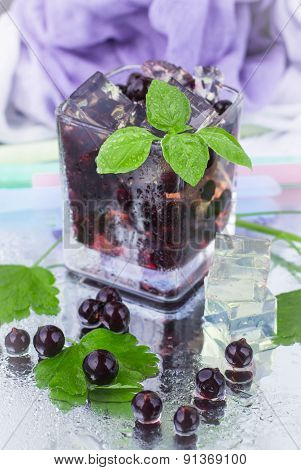 Lemonade. A refreshing Summer Drink blackcurrant ice