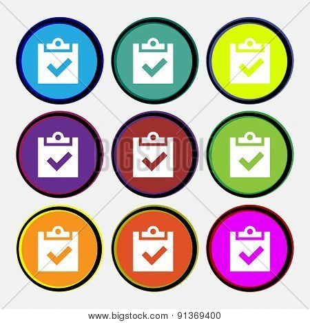 Check Mark, Tik  Icon Sign. Nine Multi-colored Round Buttons. Vector