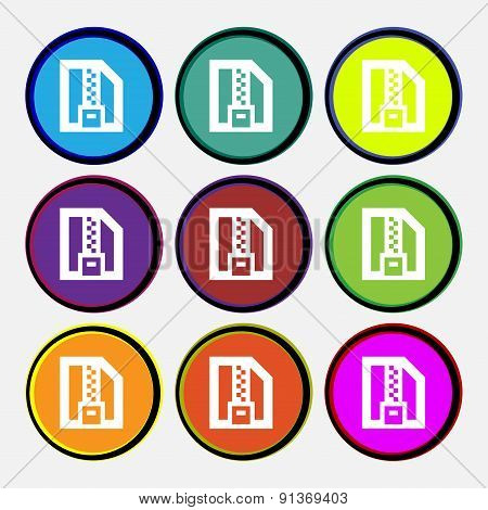 Archive File, Download Compressed, Zip Zipped  Icon Sign. Nine Multi-colored Round Buttons. Vector