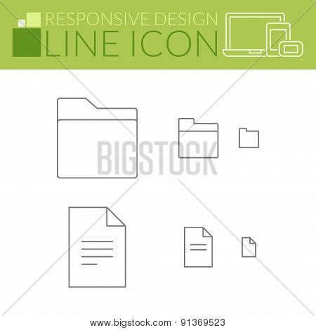 Folder And File. Line Icons. Responsive Design.