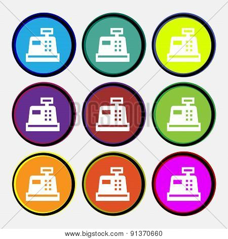 Cash Register Icon Sign. Nine Multi-colored Round Buttons. Vector