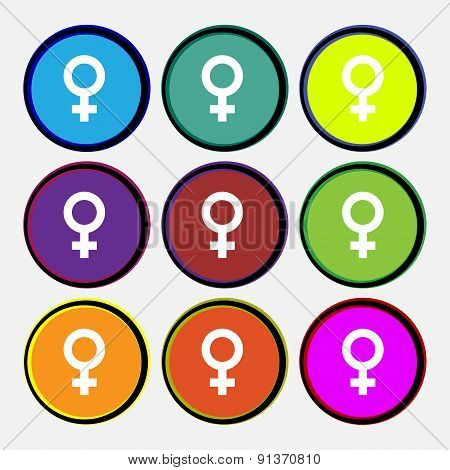 Symbols Gender, Female, Woman Sex  Icon Sign. Nine Multi-colored Round Buttons. Vector