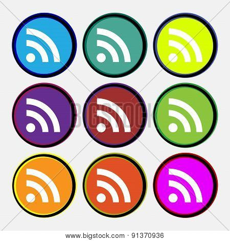 Rss Feed  Icon Sign. Nine Multi-colored Round Buttons. Vector
