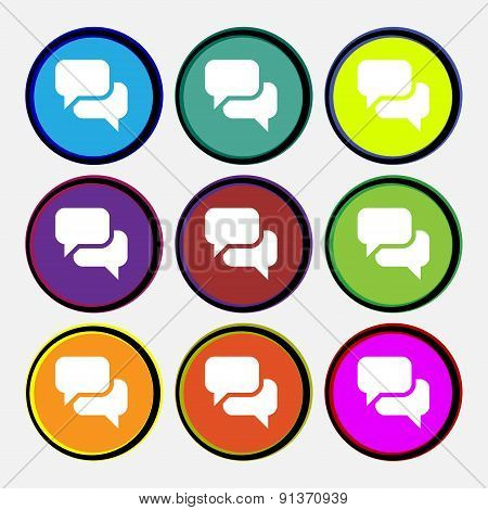 Speech Bubble, Think Cloud  Icon Sign. Nine Multi-colored Round Buttons. Vector