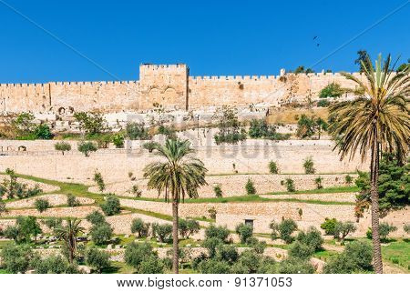 Jerusalem On The East Wall Of The Old Town