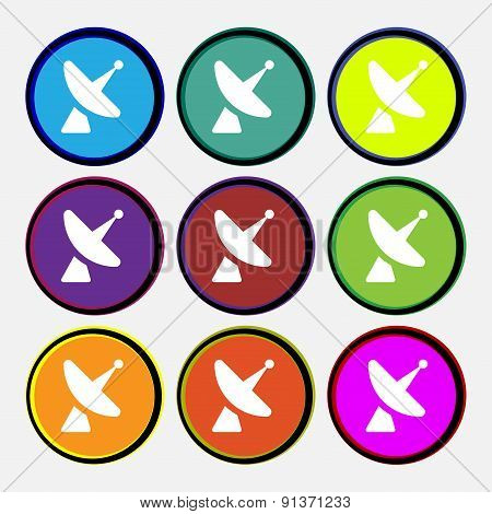 Satellite Dish  Icon Sign. Nine Multi-colored Round Buttons. Vector