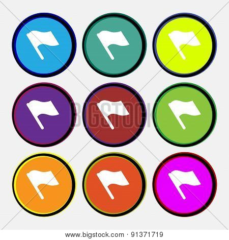 Finish, Start Flag  Icon Sign. Nine Multi-colored Round Buttons. Vector
