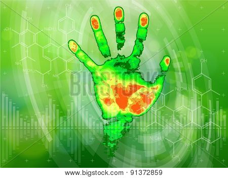 Ecology technology concept - thermal hand print, chemical formulas, radial HUD elements & green bokeh abstract light background / vector illustration / eps10