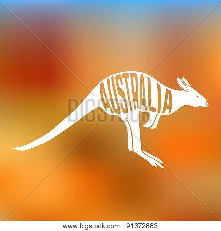 Concept silhouette of  Kangaroo with text inside on blur background.