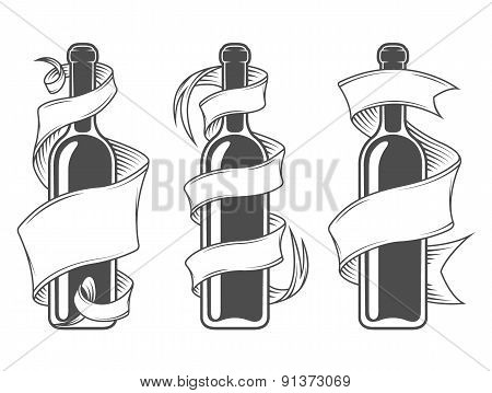 Template bottles with ribbon.