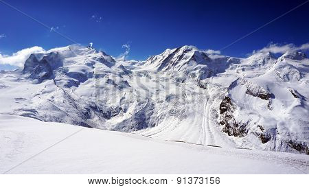 Snow Alps Mountains And Blue Sky