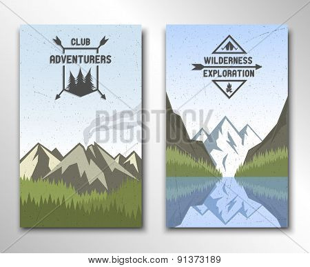 Two banners with the image of nature.