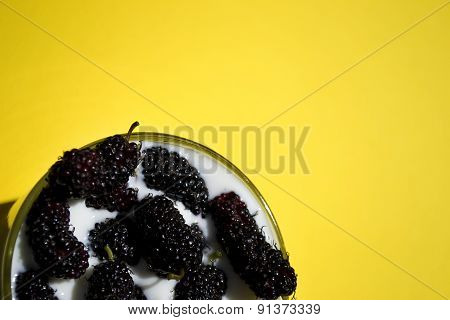 Glass Of Yoghurt With Mulberry, Yellow Background, Horizontal, Copy Space
