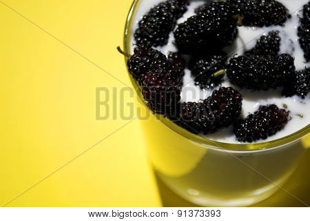 Glass Of Yoghurt With Mulberry, Yellow Background, Horizontal, Closeup, Copyspace