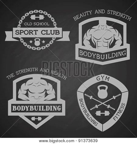 Set of emblem bodybuilding and fitness.