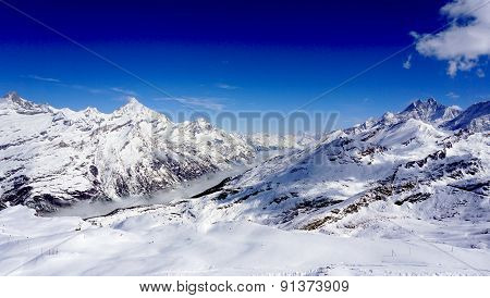 Snow Mountains And Blue Sky