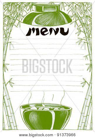 Bowl Japanese Soup Menu Pencil Sketch