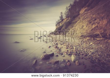 Vintage Photo Of Baltic Sea Shore With Cliff In Gdynia