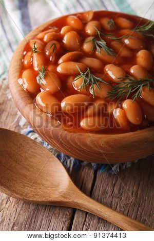 Beans In Tomato Sauce In A Wooden Bowl, Vertical
