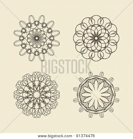 Round Ornament Set. Circle And Floral Ornament Linear Vector Illustration. Logo Template.