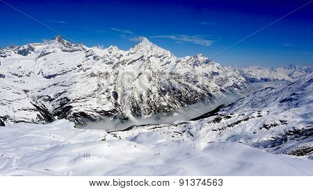 Snow Alps Mountains And Foggy