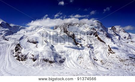 Snow Alps Mountains Scene And Blue Sky