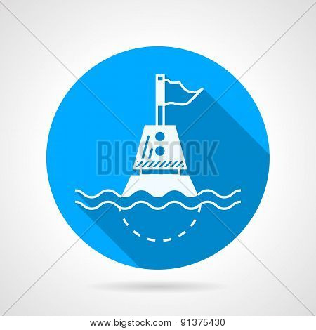 Marine buoy blue round vector icon