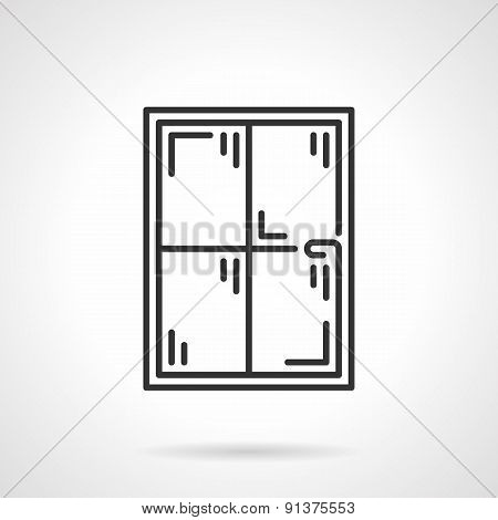 Window panes black line vector icon