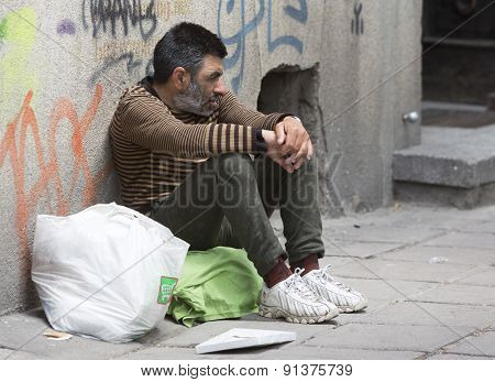 Homeless Desperate Beggar Begging